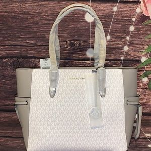 MICHAEL KORS GILLY WHITE GREY LARGE SIGNATURE TOTE